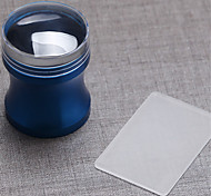 Blue Aluminum Alloy Seal With Lid Seal Kit 3.8cm + Scraper Manicure Transparent Big Seal Head
