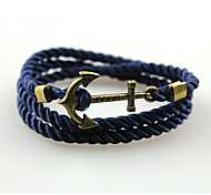 Fashion Bracelet Anchor Bracelet Alloy Rope Wrap Bracelets Simple Handmade Multilayer Bangle  1pc