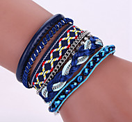 New Fashion Native Style Boheme Evil Eye Weave Leather Alloy Buckle Bracelet Bangle
