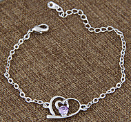 Women's European Style Fashion Sweet Sparkling Diamond Heart Chain Bracelets