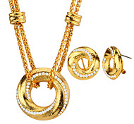 Fashion Jewelry Sets Double Chain Round Style Crystal 18K Gold Plated Necklaces&Pendants Female Wedding Gift S20182