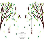 205AB Two Stickers Large Tree And Birdcage Wall Stickers Decorative Wall Stickers, Removable Stickers