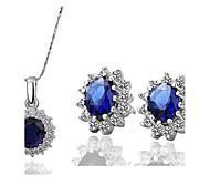 Women's Classic Luxury Fashion Zircon Earrings Necklace Set
