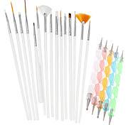 1Set Include 20pcs Nail Art Beauty Pen Brush Painting Tools Nail Styling Tools NAO25+NAO20