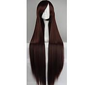 venta caliente de la fibra de 40 pulgadas de alta temperatura a largo cosplay traje marrón explosión recta peluca lado oscuro