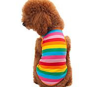 Коты / Собаки Футболка Радужный Одежда для собак Лето / Весна/осень Полоски Мода