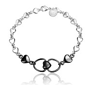 Italy Silver Christmas Gift Double Heart Black and Silver Fashion Jewelry Bracelet for Girl
