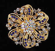 Fashion High Quality Allloy Rhinestone Flower Brooches for Women