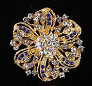 Fashion High Quality Allloy Rhinestone Flower Brooches for Women