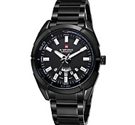 NAVIFORCE Men's Luxury Brand Date Calendar Display Water Resistant Black Stainless Steel Quartz Sport Watch Cool Watch