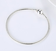 Fashionable Silver 18cm Round Chain Bracelets