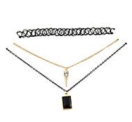 Fashion Women Trendy Stretch Tattoo Choker Black Pendant Necklace Set