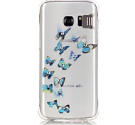 Blue Butterfly Pattern TPU Popular Brands Calling Flash Case Cover For Samsung Galaxy S7 edge / S7 / S6
