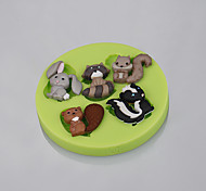 Lovely Mini Animal Rabbit Squirrel Silicone Fondant Mold Cake Decorating Tools for Chocolate Cupcake Candy Clay Making