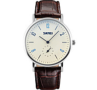 Skmei® Men's Fashion Round Dial Leather Strap Analog Wrist Watch 30m Waterproof Assorted Colors
