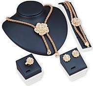 jóias bridal conjuntos de jóias flor de strass pulseira earrring conjuntos de colar