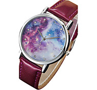 Women's/Men's Watch Black Starry Sky Case Colorful PU Band Dress Wrist Watch(Dial Pattern is Random)