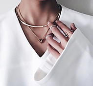 Women's Fashion Geometric Triangle Drop Count Pendant Necklace 1pc
