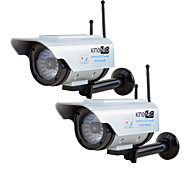 KingNEO 306SA Outdoor Solar Power Dummy Wifi Security Camera Simulated Camera with Antenna Flash LED 2pc Silver