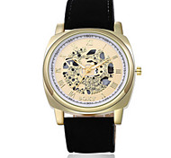 Men's Black/Brown Leather Band Heart Gold Analog Quartz Dress Watch(NO Water Ressistant)