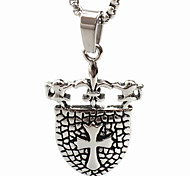 Cross Shield Titanium Steel Necklace Pendant (Excluding Chain)