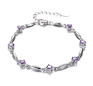 Women's Bracelet Sterling Silver Plated Purple CZ AAA Zircon Chain Bracelet Wedding for BrideImitation Diamond Birthstone