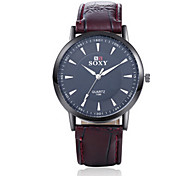 Men's  Black/Brown Leather Band White/Black Case Analog Quartz Dress Watch(NO Water Ressistant)