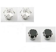 Brincos Curtos Moda Imitações de Diamante Liga Forma Geométrica Branco Preto Jóias Para Diário Casual 1 par