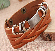Leather Bracelets 1pc,Adorable Black / Brown Leather Jewelry Gifts