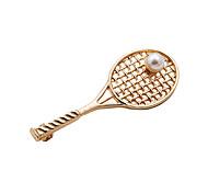 las mujeres de moda conjunto de perlas de metal broche de la raqueta de tenis