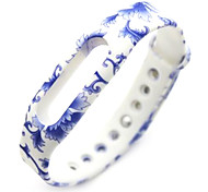 Wristband Bracelet Strap Replacement Parts For Mi band(Blue and White)