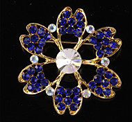 Vintage Fashion Korean Glass Crystal Flower Wedding Brooches for Women