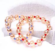 Women Blue/Red 18cm Round Strand Bracelet