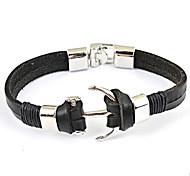 Fashion Titanium Steel Anchor Men's Leather Bracelet