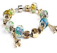 Gold Fine Styly Beads Strand Bracelet with Beautiful Pendant Charm Bracelet