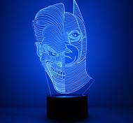 incrível luz lllusion levou candeeiro de mesa noite 3d com rosto forma dupla com forma batman com forma de máscara