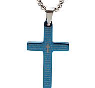 la biblia de papel de titanio collar cruz colgante retro - azul medio