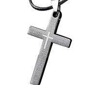 collar de esqueleto de acero de titanio de los hombres, - colgante de acero inoxidable cruz de la biblia del collar de cordón de cuero