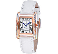 Women's leather band water resistance dress watch