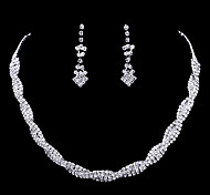 Набор украшений Ожерелье / серьги Мода Серебряный Ожерелья Серьги Для Свадьба Для вечеринок 1 комплект Свадебные подарки