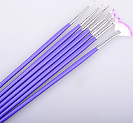 Fashion Wonem 7Pcs Purple Nail Brush Set Crystal Nail Polish Brush Kits Nail Tips Brushes