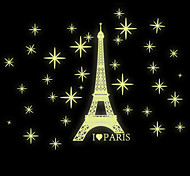 DIY Noctilucent Eiffel Tower Night Star Luminous Wall Stickers PVC Removable Fashion Bedroom Wall Decals