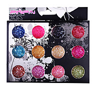 12 Colors Glitter Shell Sand Nail Art Kit