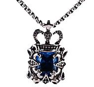 Retro Titanium Necklace Pendant Crown Jewels - Blue