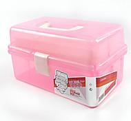 tres grandes cuadro de pintura caja de herramientas de almacenamiento caja de lápiz de la pintura de uñas de plástico PVC transparente
