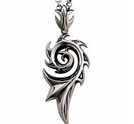 titane acier squelette Collier hommes pendentif en acier inoxydable - flamme Collier cordon en cuir noir spirale