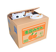 Piggy Bank Stealing Coin Cat Bank Novelty Toy Square Plastic Khaki For Kids