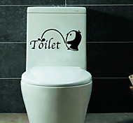 Fashion Bathroom Penguin Toilet Stickers DIY Environmental WC Wall Stickers