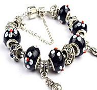 Black Fine Styly Beads Strand Bracelet with Beautiful Pendant Charm Bracelet