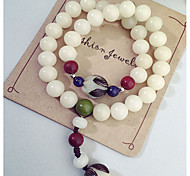 Fashionable White 17cm Round Strand Bracelets